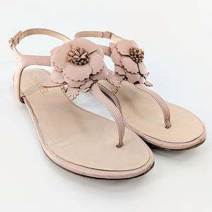 Chanel 'Camellia' Pink Leather T Strap Sandals